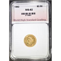 1882 $2.50 LIBERTY GOLD, WHSG CH BU