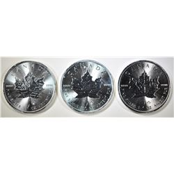 3-GEM BU 2014 CANADA SILVER MAPLE LEAF COINS