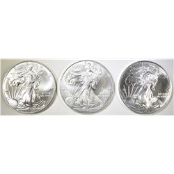 3-GEM BU AMERICAN SILVER EAGLES- 2- 2015 & 1-2014