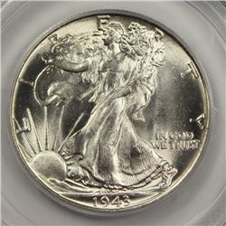 1943 WALKING LIBERTY HALF DOLLAR PCGS MS 65