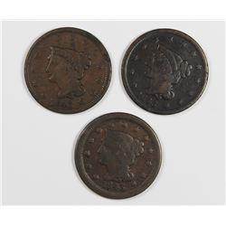 SET OF (3) 1843 LARGE CENTS VG-FINE+: