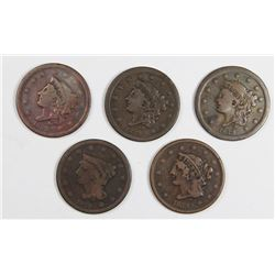 SET OF 5 PCS 1839 LARGE CENTS: