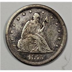 1875-S TWENTY CENT PIECE XF-AU