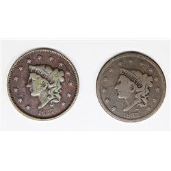 (2) 1837 LARGE CENTS