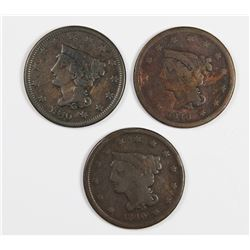 SET OF 3PCS. 1840 LARGE CENTS VG/FINE: