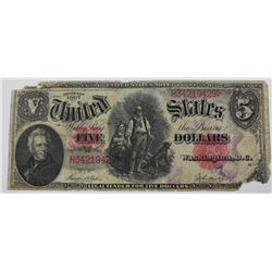 "1907 $5.00 ""WOODCHOPPER"" U.S. NOTE"