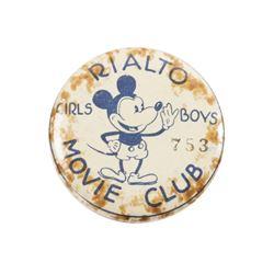 Rialto Movie Club Mickey Mouse Button.
