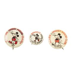 Set of (3) Sponsor Mickey Mouse Club Buttons.