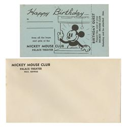 Mickey Mouse Club Member Birthday Ticket.