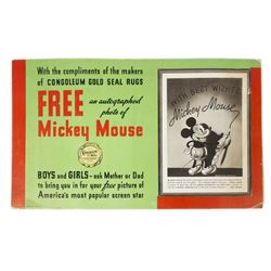 Mickey Mouse Display Sign & Promotional Photo.