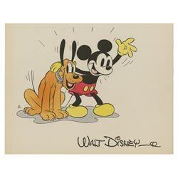 Mickey Mouse & Pluto Hand-Colored Studio Fan Card.