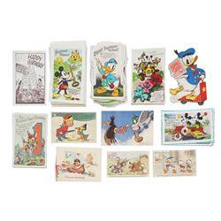 Set of (46) 1930s-1940s Walt Disney Postcards.