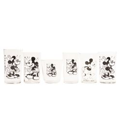 Collection of (6) Mickey & Minnie Promotional Glasses.