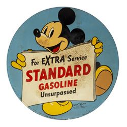 Mickey Mouse Standard Gasoline Metal Sign.