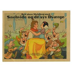 Snow White and the Seven Dwarfs Danish Coloring Book.