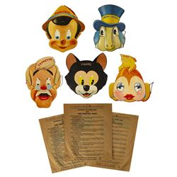 Set of (5) Gillette Pinocchio Masks in Original Bags.