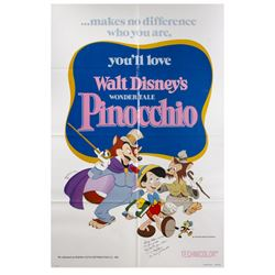 Pinocchio Re-Release Signed Poster.