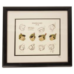 Pinocchio Model Sheet Framed Pin Set.