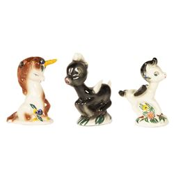 Set of (3) Vernon Kilns Unicorn & Pegasus Figurines.