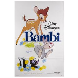 Bambi Re-Release Signed Poster.