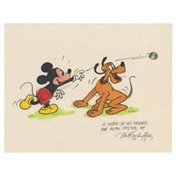 Original Mickey and Pluto Drawing by Milt Schaffer.