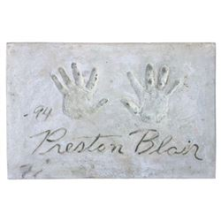 Preston Blair Cement Handprint & Signature.