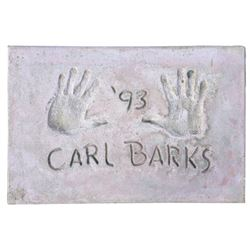 Carl Barks Cement Handprint & Signature.