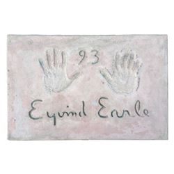 Eyvind Earle Cement Handprint & Signature.