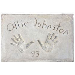 Ollie Johnston Cement Handprint & Signature.