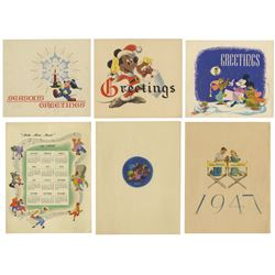 Set of (6) 1940s Disney Studio Christmas Cards.