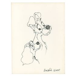 Original Lady and Tramp Drawing by Don Lusk.