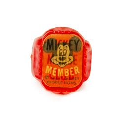 Mickey Mouse Club Red Plastic Lenticular Ring.
