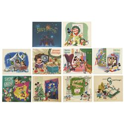 Complete Set of (10) 1950s Studio Christmas Cards.