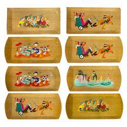 Group of (8) Hasko Lithographed Wood Veneer Trays.