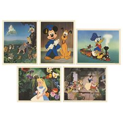 Set of (5) Walt Disney Productions Dye Transfers.