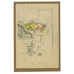 Original Gag Drawing by Les Clark.