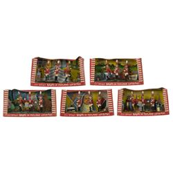 Set of (5) Babes in Toyland Soldiers Playsets by Marx.