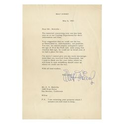 Walt Disney Signed Letter Regarding Disneyland Casting.