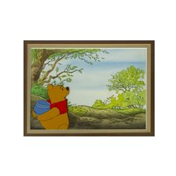 Original Winnie the Pooh Cel & Hand-Painted Background.