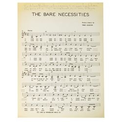 """The Bare Necessities"" Signed Sheet Music."