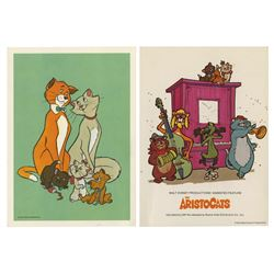 Pair of The Aristocats Postcards Signed by Charles Lane