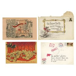 Pair of Christmas Cards from John Hench to Harper Goff.