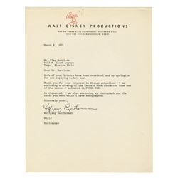 Wolfgang Reitherman Walt Disney Productions Letter.
