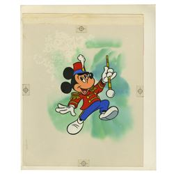 Hand-Painted Mickey Mouse Postage Stamp Art.