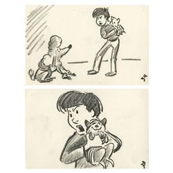 Pair of Oliver and Company Storyboard Drawings.