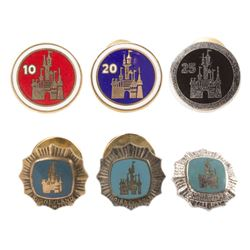 Group of (6) Cast Member Service Award Pins.