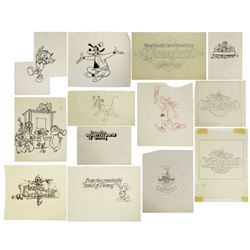 Collection of (13) Disneyland Promotional Drawings.