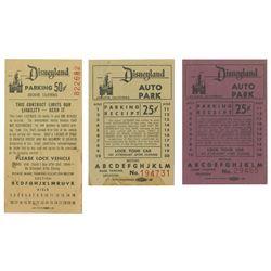 Set of (3) Vintage Disneyland Parking Tickets.