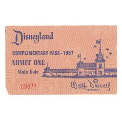 1957 Disneyland Complimentary Pass.