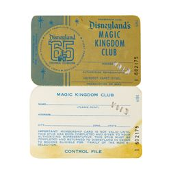1965 Disneyland Magic Kingdom Club Membership Card.